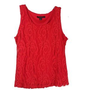 Fever Tomato Red Lace Shell/Tank Top Women's